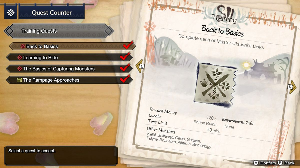 The training missions screen in Monster Hunter Rise