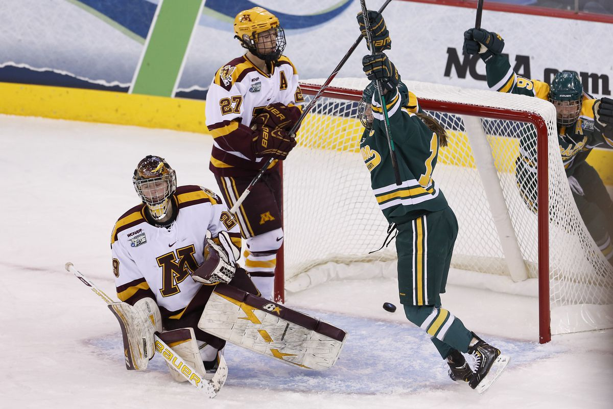 Clarkson celebrating a goal in Sunday's 5-4 win as Minnesota's Amanda Leveille and Baylee Gillanders (27) look by