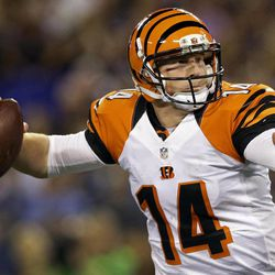 Cincinnati Bengals quarterback Andy Dalton throws to a receiver in the first half of an NFL football game against the Baltimore Ravens in Baltimore, Monday, Sept. 10, 2012.