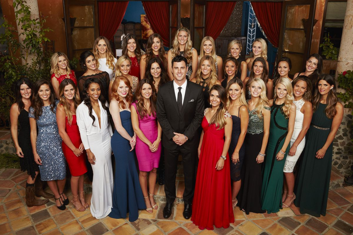 The season 20 Bachelor, Ben Higgins, surrounded by his harem of court jesters, errr, the women selected to compete for his affection.