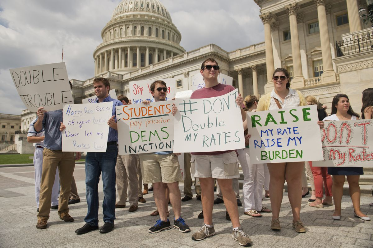 Students protest an interest rate increase on student loans last summer.