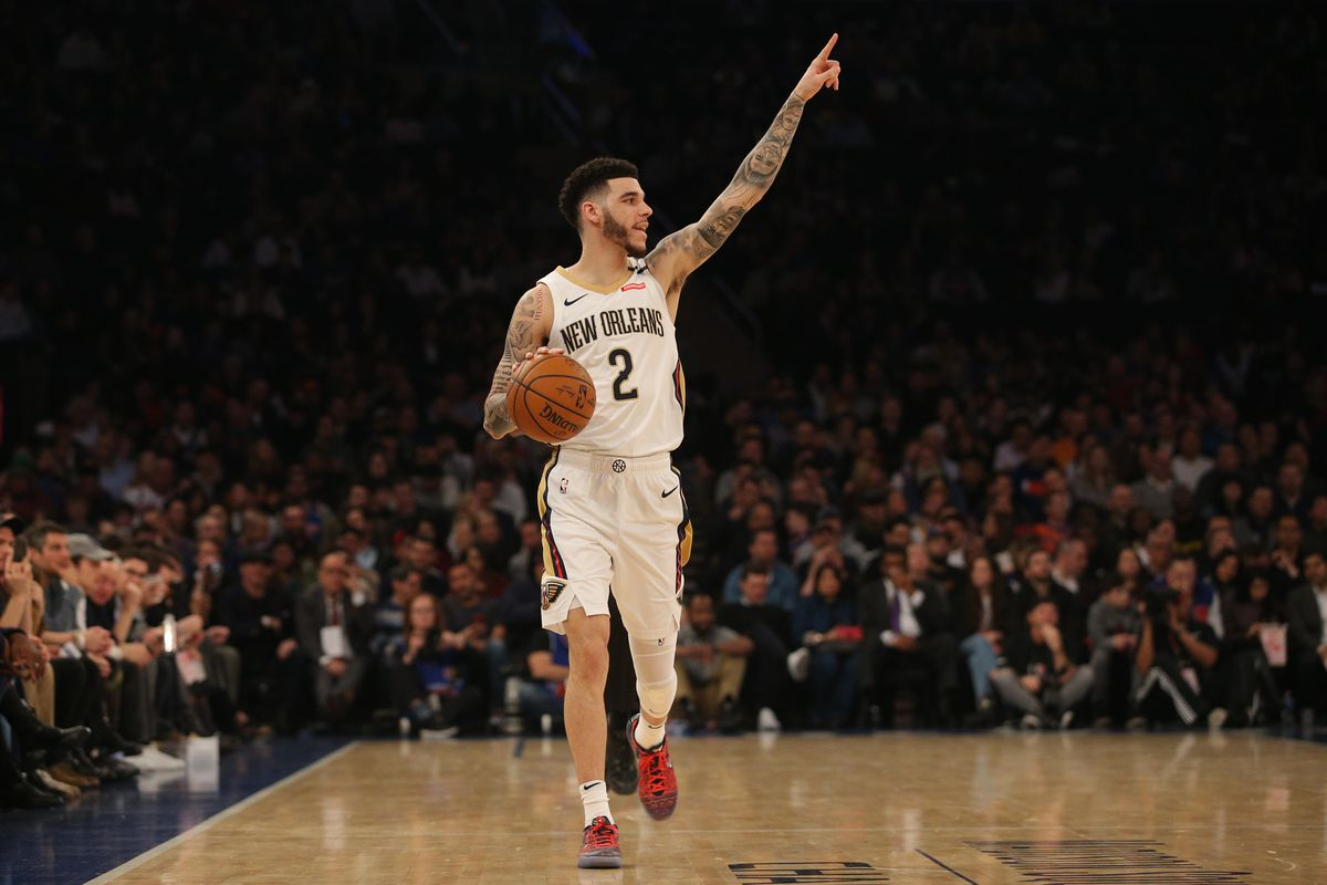 New Orleans Pelicans point guard Lonzo Ball controls the ball against the New York Knicks during the second quarter at Madison Square Garden.