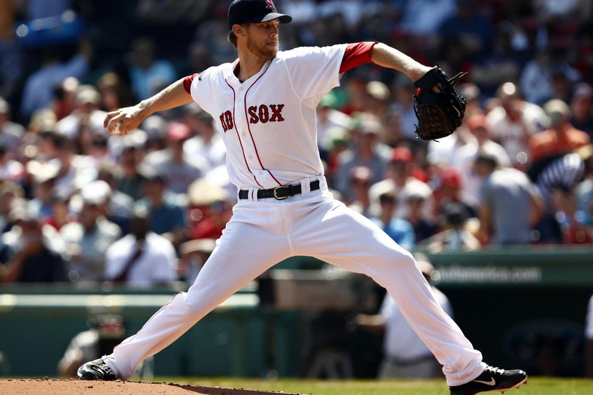 Boston, MA, USA; Boston Red Sox starting pitcher Daniel Bard (51) pitches against the Tampa Bay Rays during the first inning at Fenway Park.  Mandatory Credit: Mark L. Baer-US PRESSWIRE