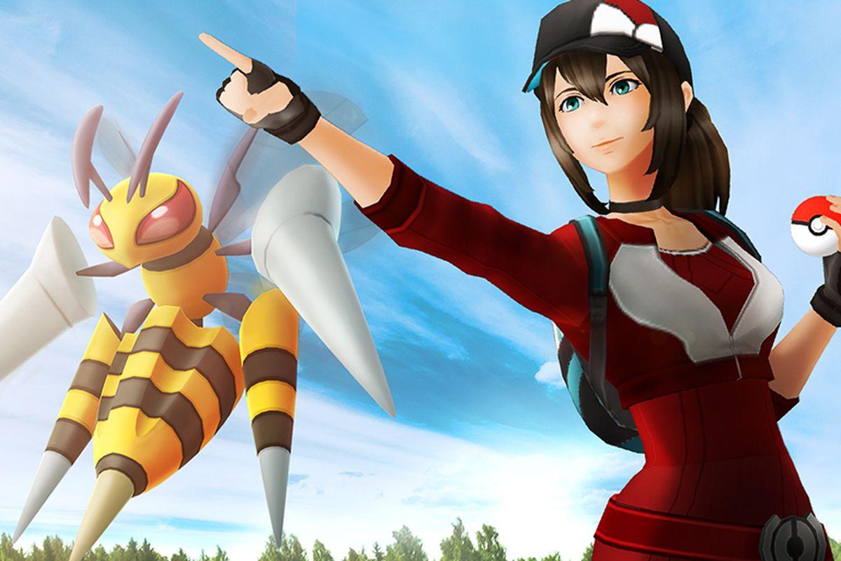 A Pokémon trainer sends out a Mega Beedrill