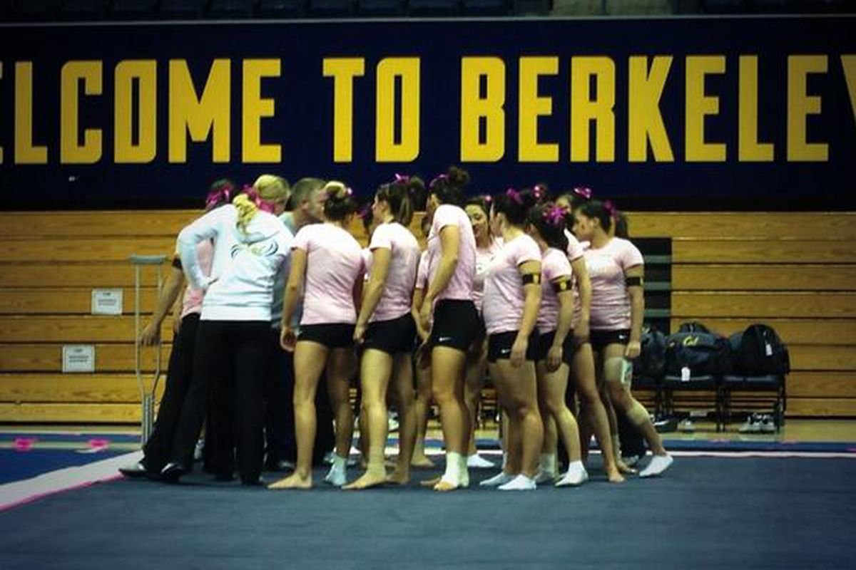 The Cal women in their last meet (which was a Pink Meet).