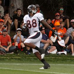 Broncos WR Demaryius Thomas looks back for the ball during pass drills