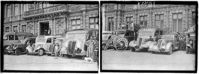 Two shots of the 1938 Tour's caravane publicitaire, where members of the public could get free stuff