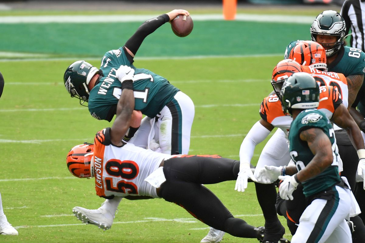 Philadelphia Eagles quarterback Carson Wentz (11) is sacked by Cincinnati Bengals defensive end Carl Lawson (58) during the second quarter at Lincoln Financial Field.