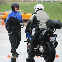 Laura Barnard instructs 80 riders as they take a skills course at Salt Lake Community College Jordan Campus in West Jordan on Saturday, April 8, 2017. Zero Fatalities teamed up with Harrison Eurosports in offering the course which taught riding techniques and defensive riding.