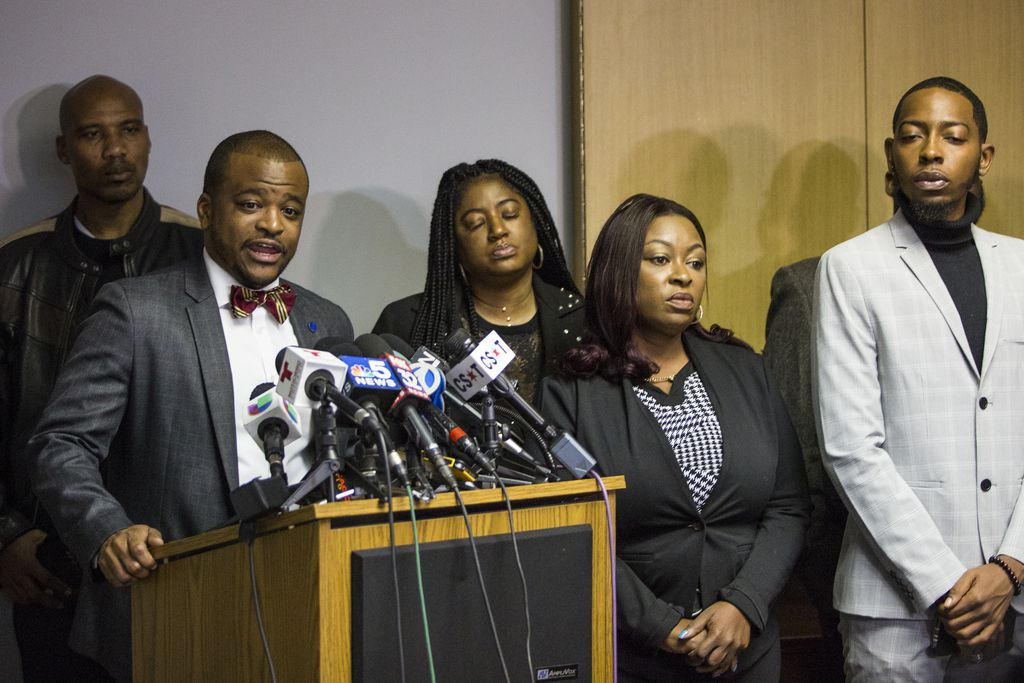 Attorney Shay Allen discusses the lawsuit against the gubernatorial campaign for Democrat J.B. Pritzker during a press conference, Monday morning, Oct. 22, 2018. | Ashlee Rezin/Sun-Times