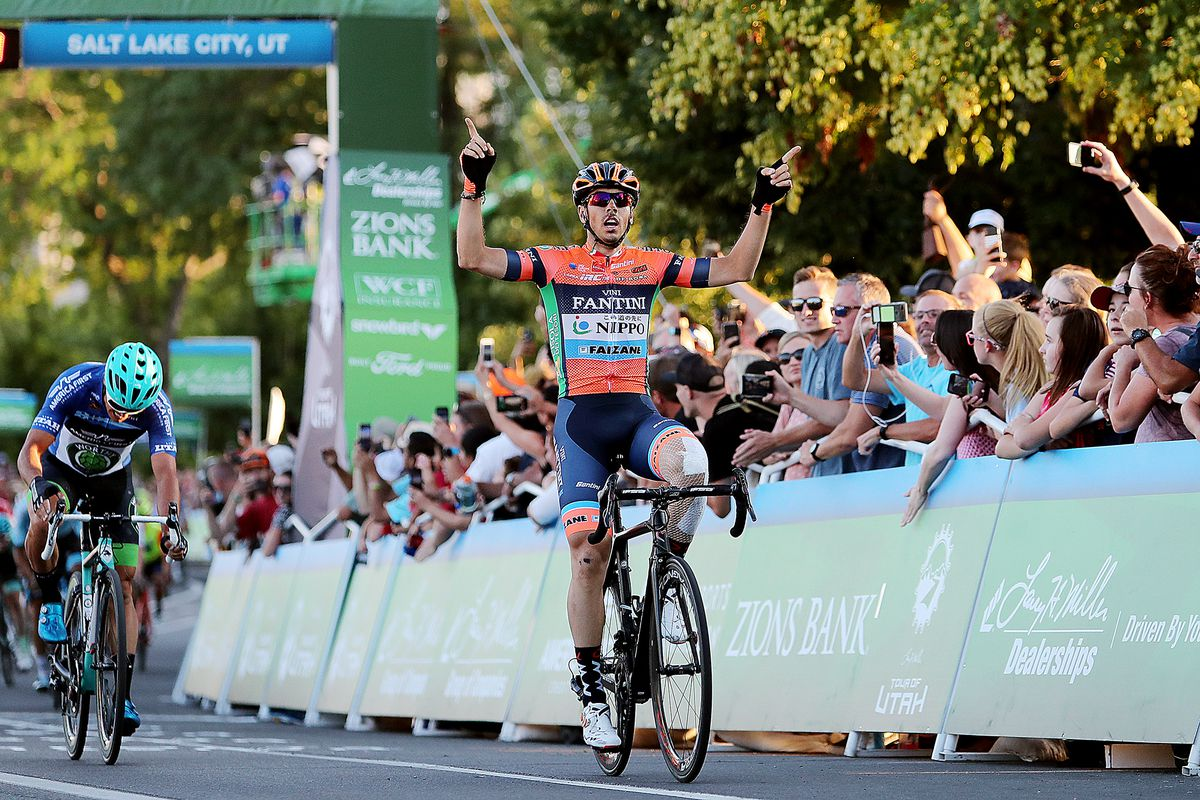 Marco Canola of team Nippo-Vini Fantini-Faizane celebrates after winning Stage 4 of the Tour of Utah in Salt Lake City on Friday, Aug. 16, 2019.