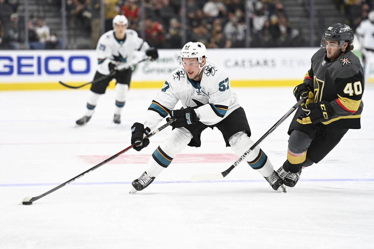 Adam Raska #57 of the San Jose Sharks skates during the second period against the Vegas Golden Knights at T-Mobile Arena on September 26, 2021 in Las Vegas, Nevada.