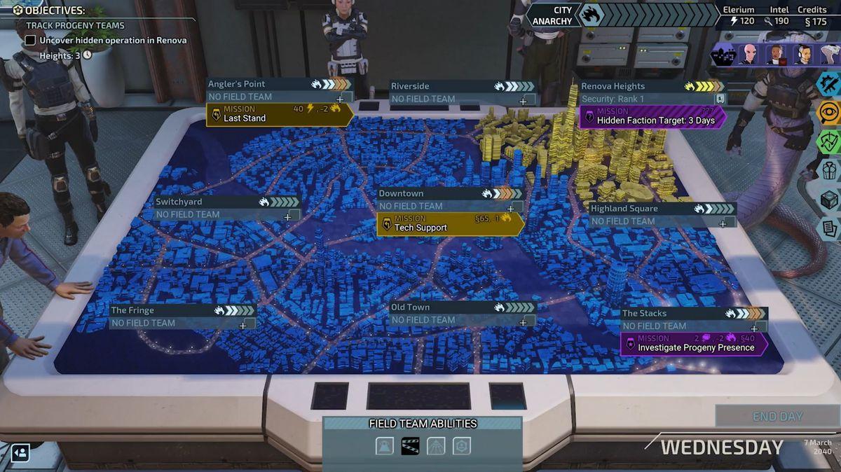 يقف أعضاء XCOM Chimera Squad حول طاولة عرض مجسم تعرض مناطق City 31 ومهام مختلفة متاحة للعمل المباشر.