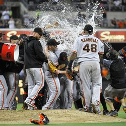 Congratulations. Now you're wet. (Photo by Denis Poroy/Getty Images)