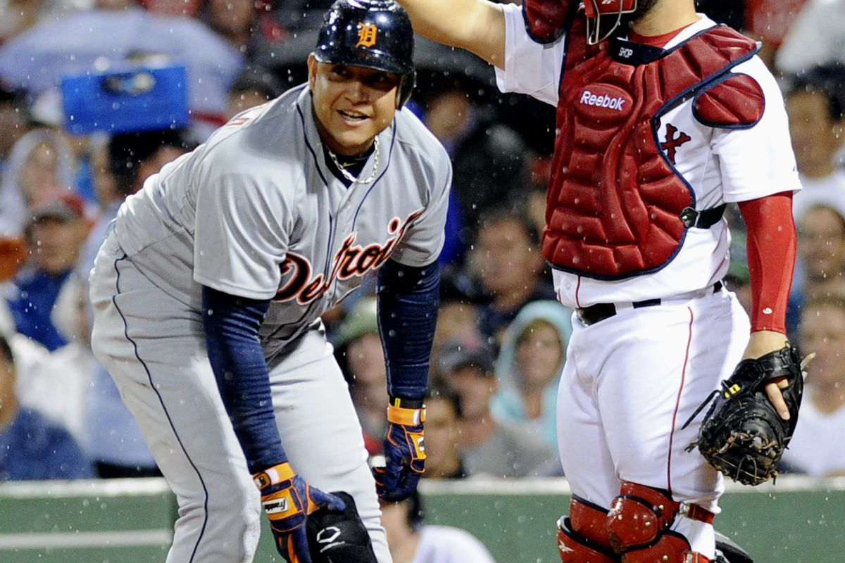July 31, 2012; Boston, MA, USA; Detroit Tigers third baseman Miguel Cabrera (24) walks with the bases loaded during the third inning against the Boston Red Sox at Fenway Park. Mandatory Credit: Bob DeChiara-US PRESSWIRE