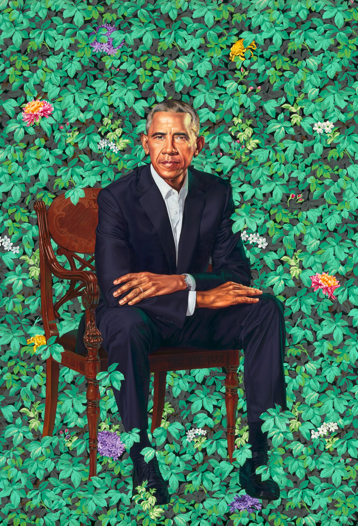 Kehinde Wiley.Barack Obama, 2018. Oil on canvas. National Portrait Gallery, Smithsonian Institution.