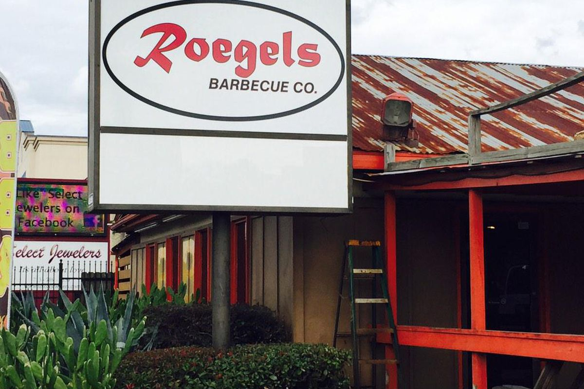 New signage is up at Roegels Barbecue Co.