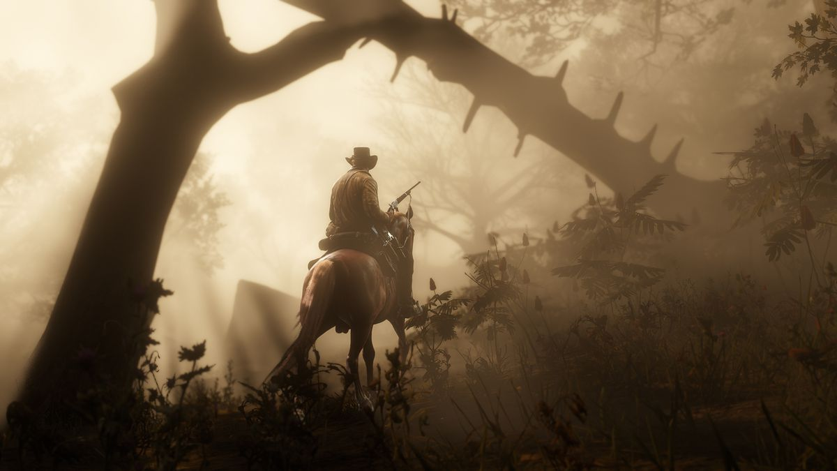Red Dead Redemption 2 - Arthur rides a horse through a forest while holding a rifle
