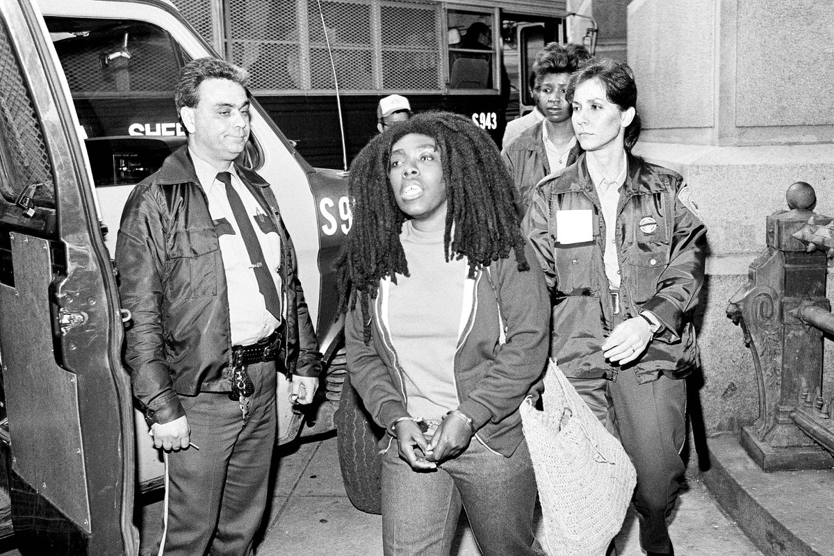 MOVE member, Ramona Africa, after being sentenced on April 14, 1986 her role in the fatal confrontation with police on May 13, 1985.