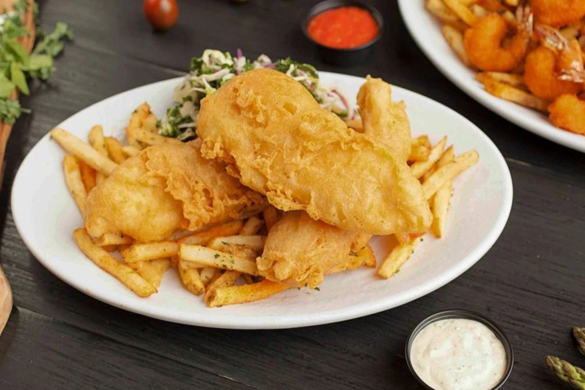Fish and chips, one of the most popular items on  the California Fish Grill menu.