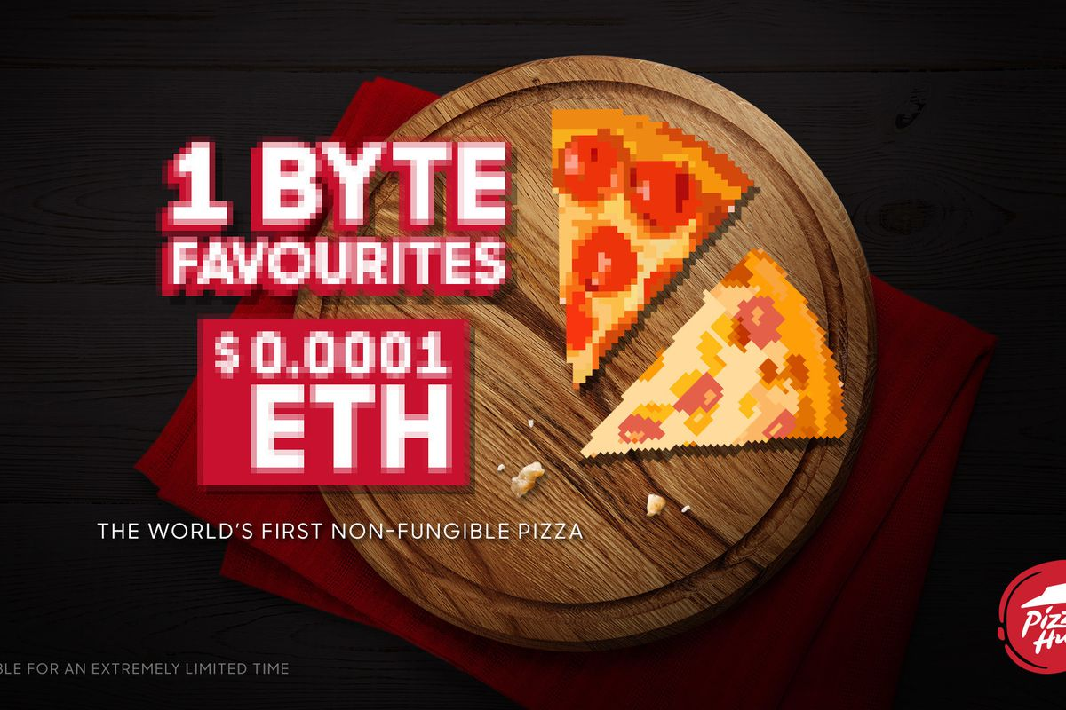 """A pixelated image of two slices of pepperoni pizza on a wooden board, styled like an early video game with the text """"1 Byte Favourites, $0.0001 ETH"""""""