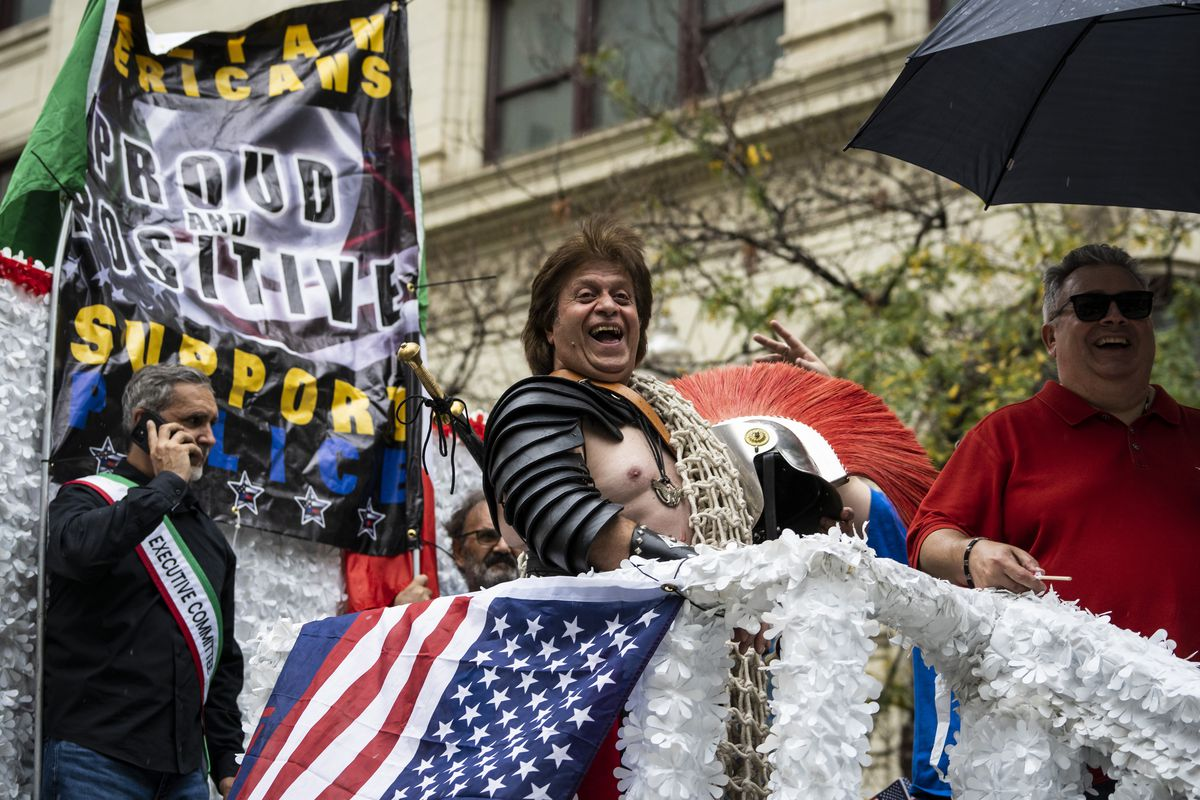 Franco Paliferro created his own Spartacus costume to ride on float in the Columbus Day parade on Monday afternoon, Oct. 11, 2021.