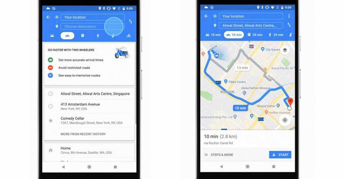 Google Maps brings motorcycle mode to Singapore, Thailand, Vietnam ...