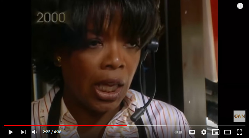 Oprah Winfrey working the drive-thru at the Rock N Roll McDonald's and dealing with a customer complaining about the terrible service — her show's lawyer Bill Becker, who didn't know she was the one taking drive-thru orders.