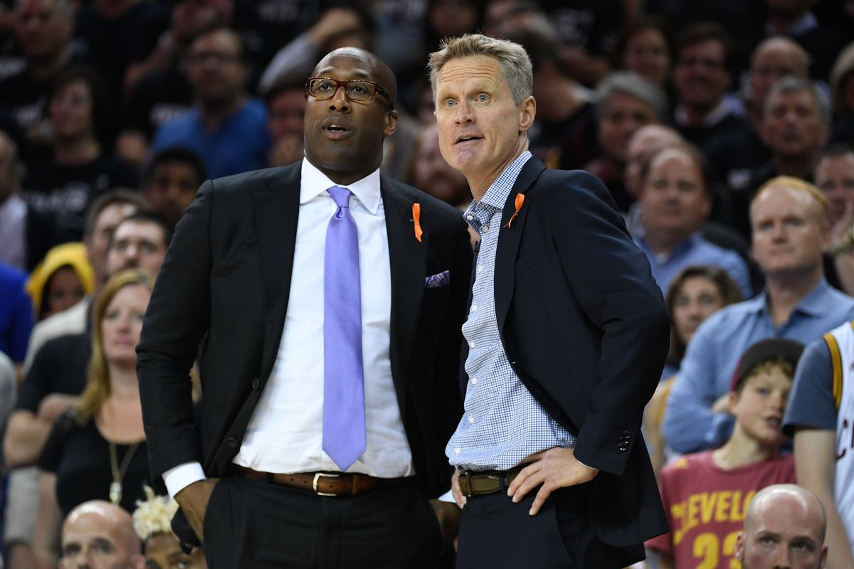 Golden State Warriors assistant coach Mike Brown and head coach Steve Kerr during the second quarter in game four of the 2017 NBA Finals against the Cleveland Cavaliers at Quicken Loans Arena.
