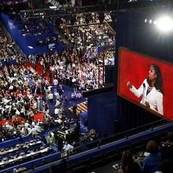 Mia Love, Utah 4th District congressional candidate, is seen on the big screen as she speaks at the Republican National Convention at the Tampa Bay Times Forum, Tuesday, Aug. 28, 2012. A communications class at the University of Pennsylvania has an unusual requirement: Students must attend the Republican or Democratic national conventions.