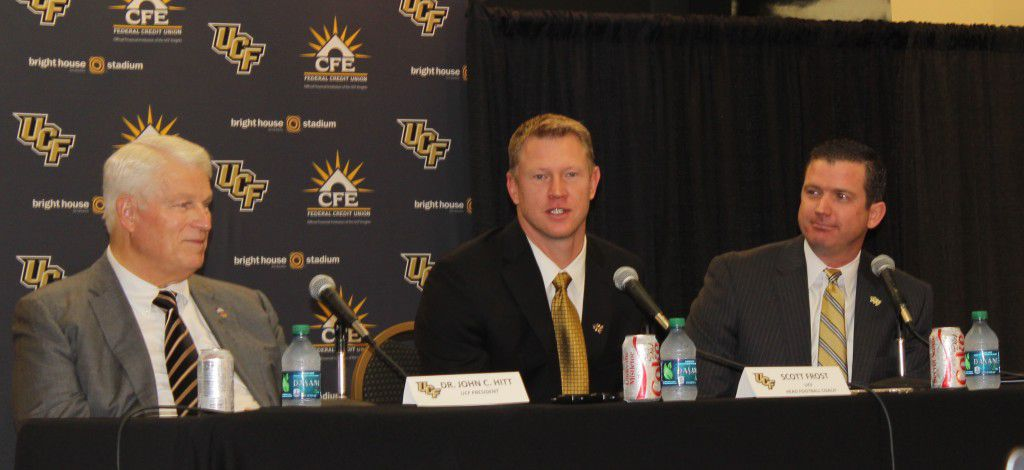 (L to R) UCF President Dr. John Hitt, head football coach Scott Frost and athletic director Danny White take questions at a news conference, December 2, 2015 (Photo: Jeff Sharon/BlackandGoldBanneret.com)