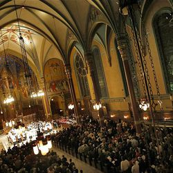 The Mormon Tabernacle Choir performs a Christmas concert at the Cathedral of the Madeleine in Salt Lake City Dec. 16, 2008.