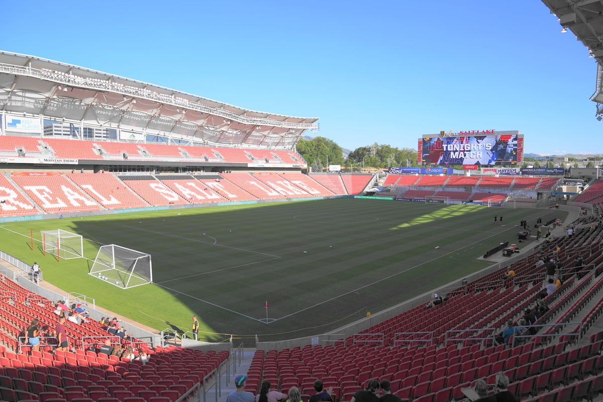 General view of the stadium Rio Tinto prior the NWSL game between Utah Royals FC and Portland Thorns FC at Rio Tinto Stadium on July 19, 2019 in Sandy, Utah.