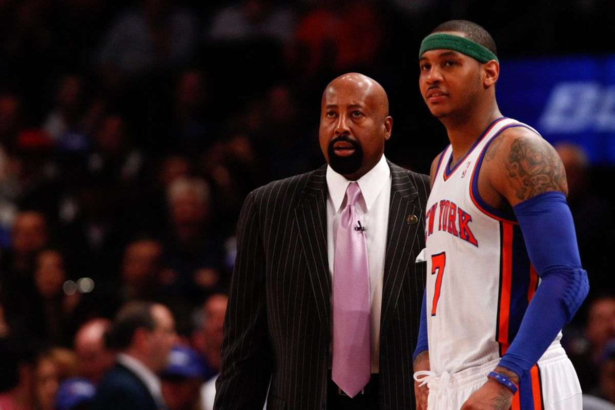 Apr. 8, 2012; New York, NY, USA; New York Knicks head coach Mike Woodson and small forward Carmelo Anthony (7) on the sidelines during the first half against the Chicago Bulls at Madison Square Garden. Mandatory Credit: Debby Wong-US PRESSWIRE