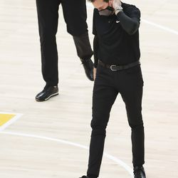 Utah Jazz coach Quin Snyder walks onto the floor during timeout in Salt Lake City on Saturday, Dec. 26, 2020.
