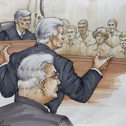 FILE - In this Tuesday, July 31, 2012 file courtroom sketch, Drew Peterson, foreground, looks on, as Will County State's Attorney James Glasgow gives his opening statement before Judge Edward Burmila and jurors, in Joliet, Ill., in Peterson's murder trial. Peterson is charged in the 2004 death of his third wife, Kathleen Savio. Jurors at the trial have been showing up wearing matching clothes.