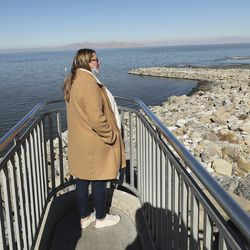 Kelly Bray looks over the Great Salt Lake on Wednesday, Oct. 28, 2020. A new study shows water conservation could put off the need for new water development by as long as 2065 and help save the dwindling Great Salt Lake.