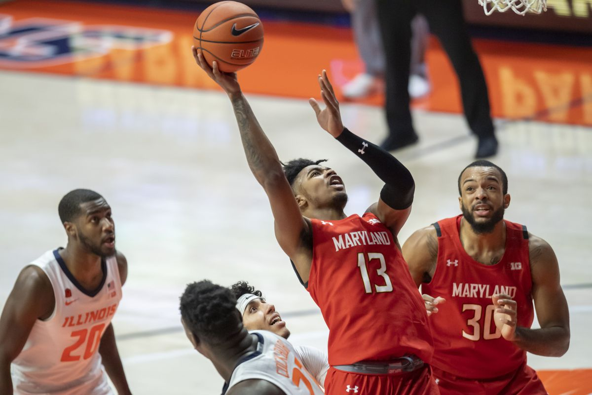 Maryland Terrapins guard Hakim Hart goes up for a shot during the second half against the Illinois Fighting Illini at the State Farm Center.