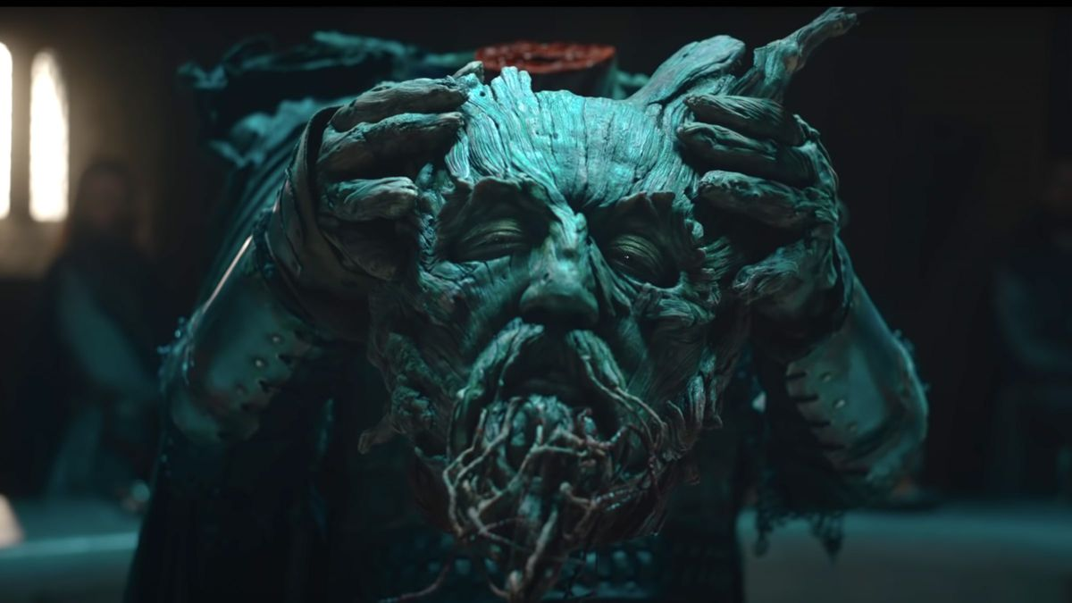 Ralph Ineson as the severed head of the Green Knight in David Lowery's The Green Knight
