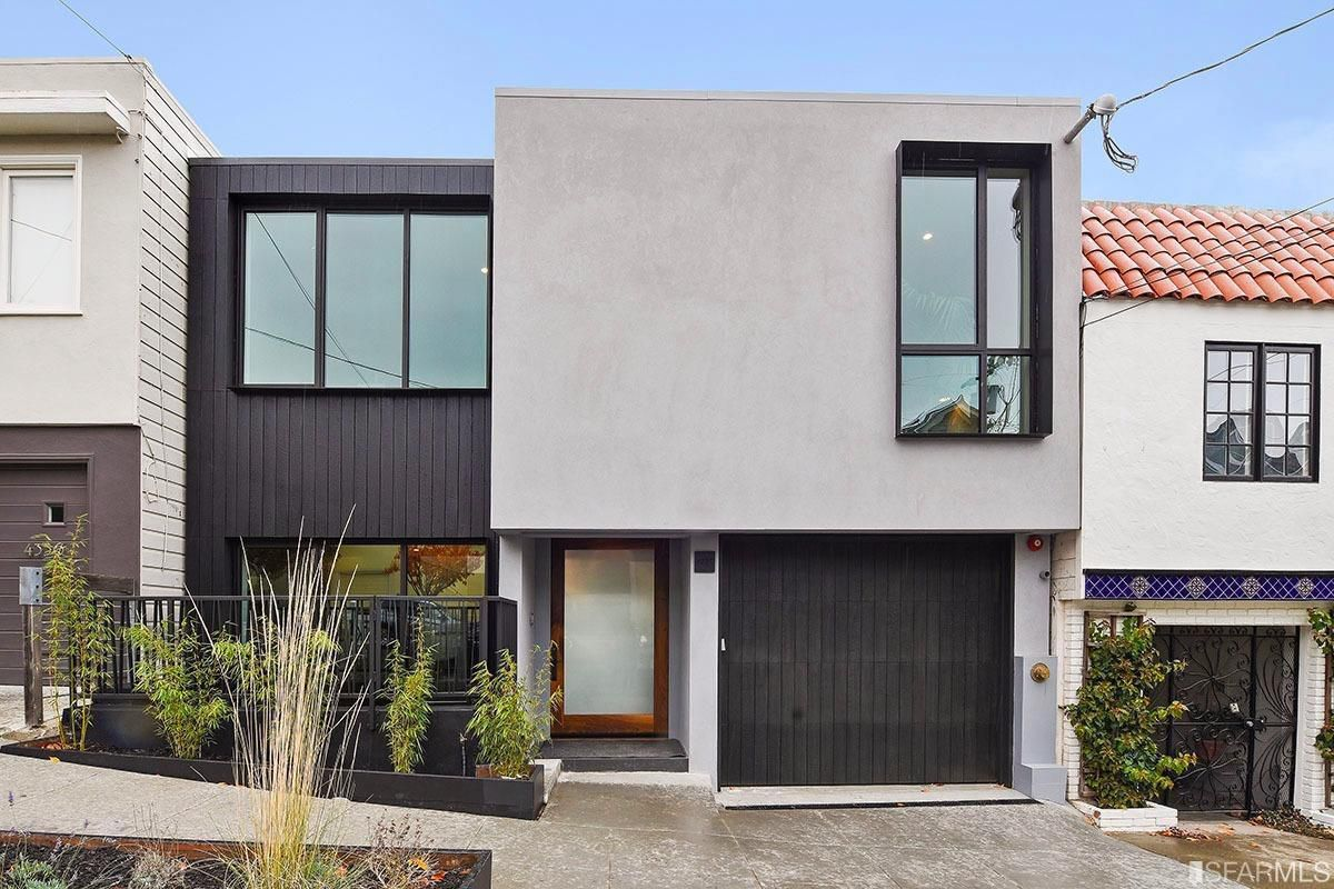 Very modern exterior of Noe Valley home in shades of grey.