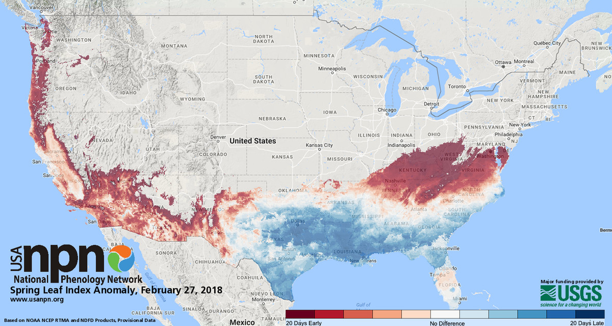 Spring Has Arrived Early For Much Of The Us Its Gorgeous And - Early-us-maps