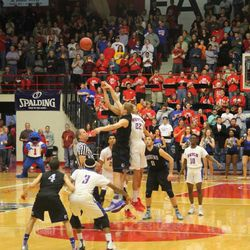 Opening tipoff at NJCAA national championship game in 2016 in Hutchinson, Kansas. Salt Lake Community College went on to defeat Hutchinson Community College to win the title.