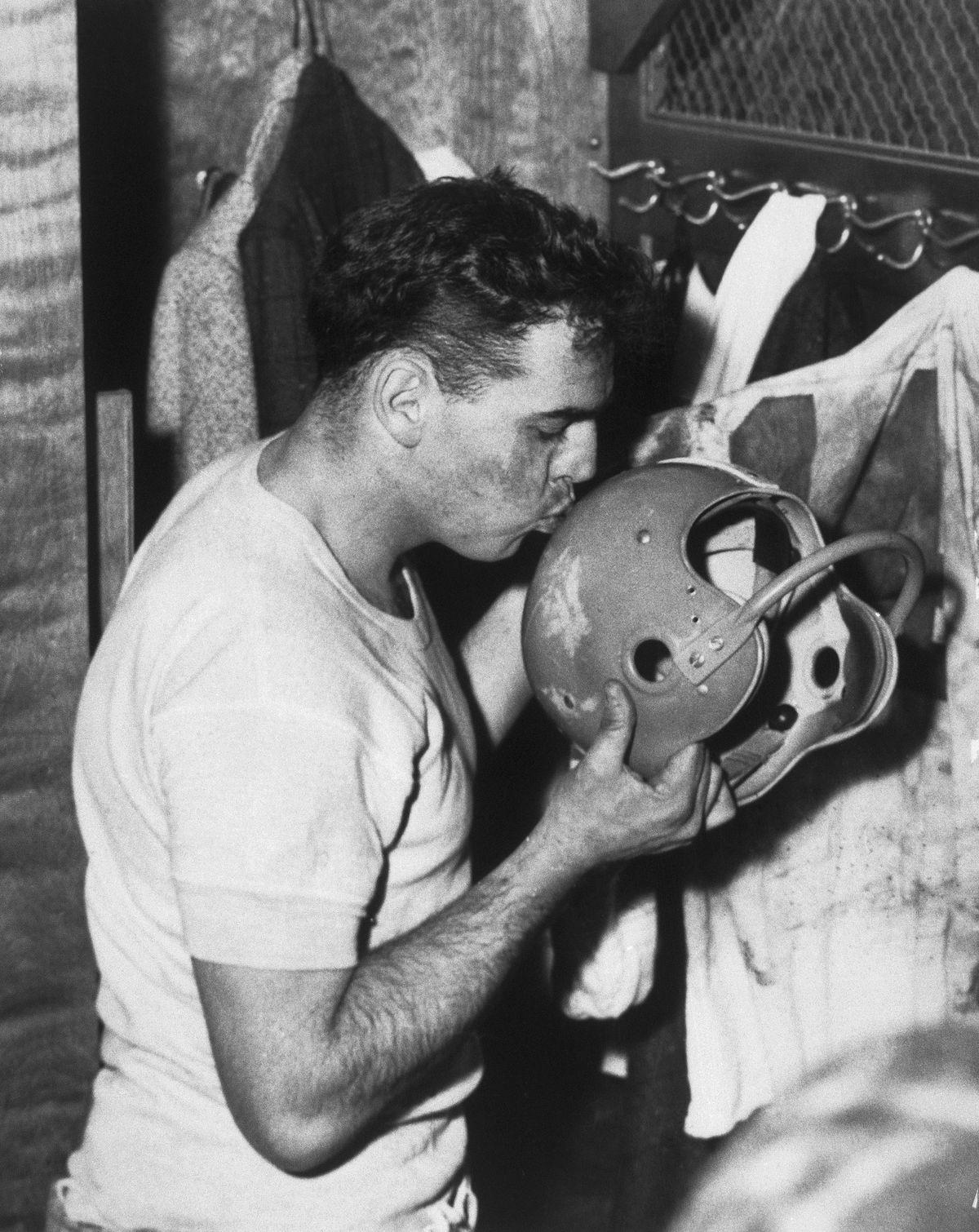 Otto Graham Kissing Helmet
