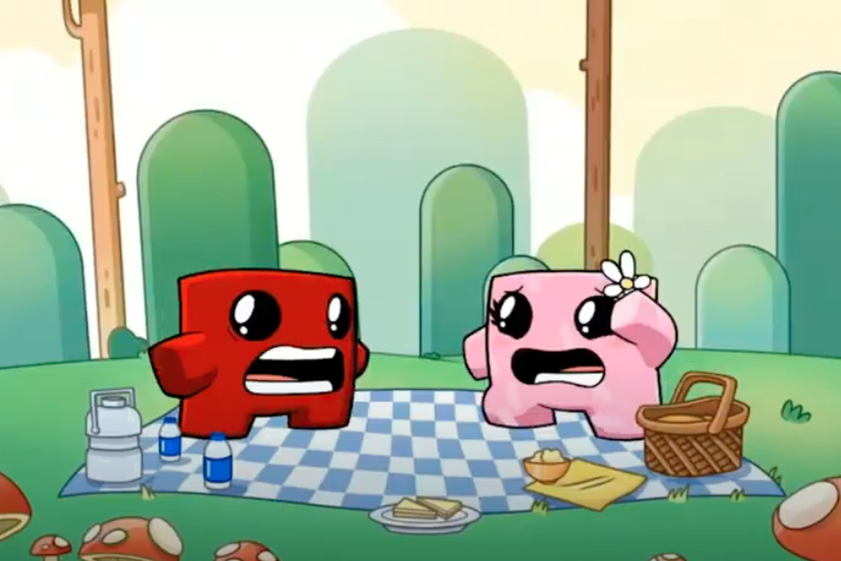 cartoony attract-mode shot of Super Meat Boy and Bandage Girl grimacing as some kind of danger approaches