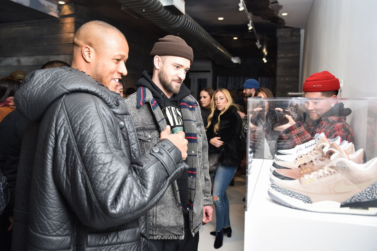 Justin Timberlake at his 'Man of the Woods' pop-up shop in New York City