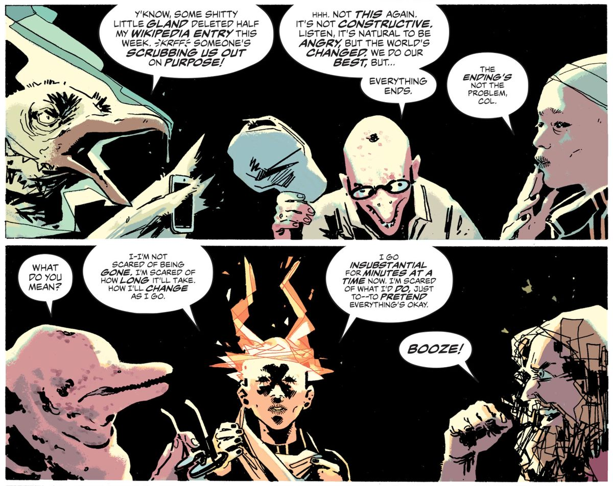 Characters sit around a table at a support group for gods who are being forgotten by mankind, in The Dreaming #13, DC Comics (2019).