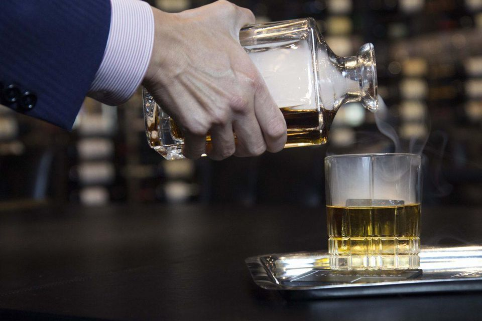 The smoked whiskey cart at Jean Georges Steakhouse