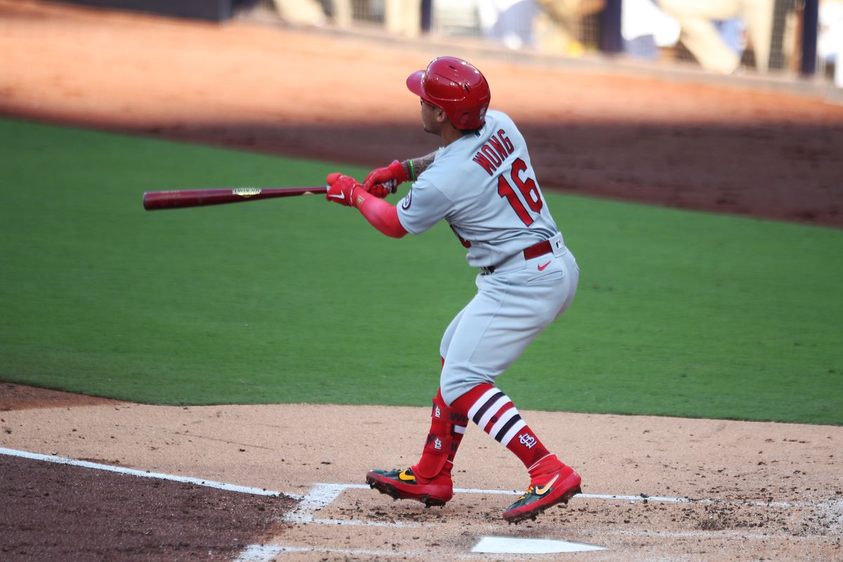 Kolten Wong follows through after hitting a two-run home run.