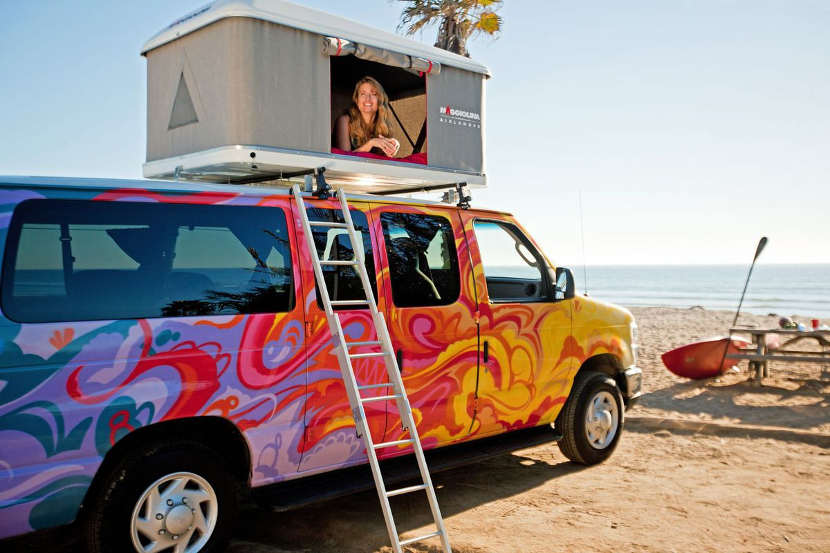 colorful camper vans available for rent from 7 u s cities. Black Bedroom Furniture Sets. Home Design Ideas