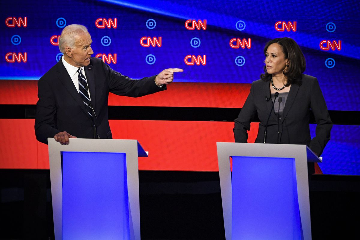 Democratic debate: Joe Biden vs  Kamala Harris on health care - Vox